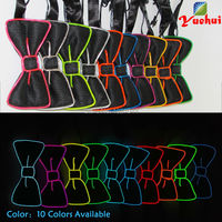LED Bow Tie EL Wire Bow Tie 20pieces Wholesale Glowing Product Neon glowing light EL Bow Tie for Wedding Glow Party Supplies