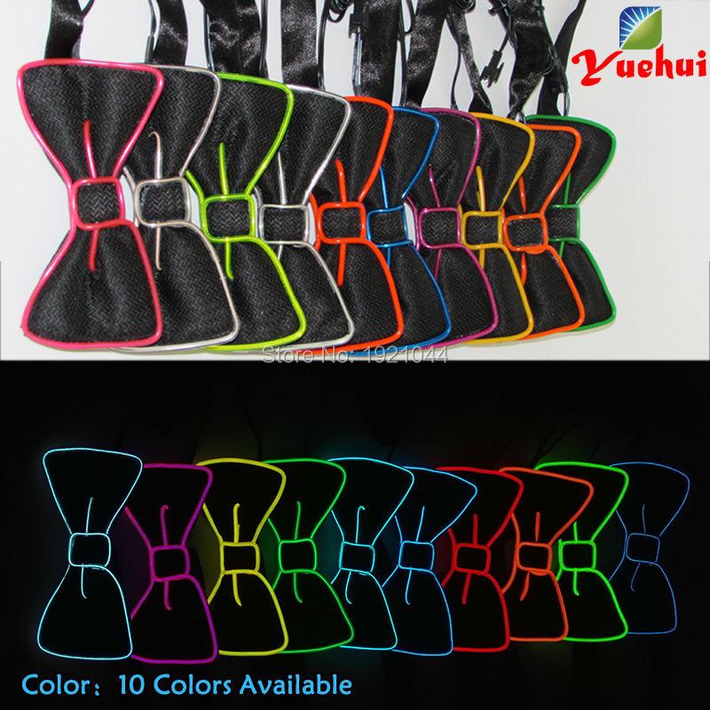 LED галстук бабочка EL Провода галстук бабочка 20 штук Оптовая Светящиеся код светящийся неоновый свет EL галстук бабочка для свадьбы неоновые