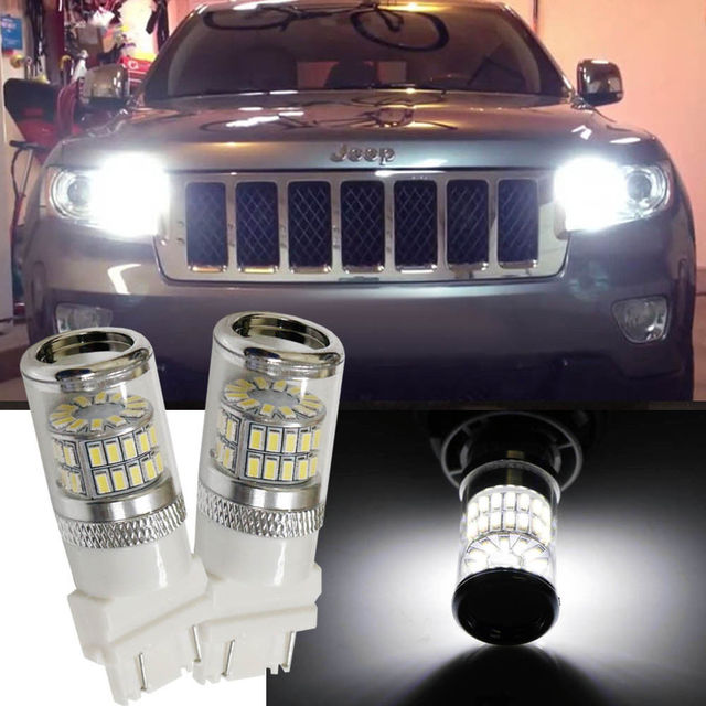 Car Styling For Jeep Grand Cherokee Error Free Hid White 3157 Mirror Reflector Led Bulbs Daytime Running Lights Drl