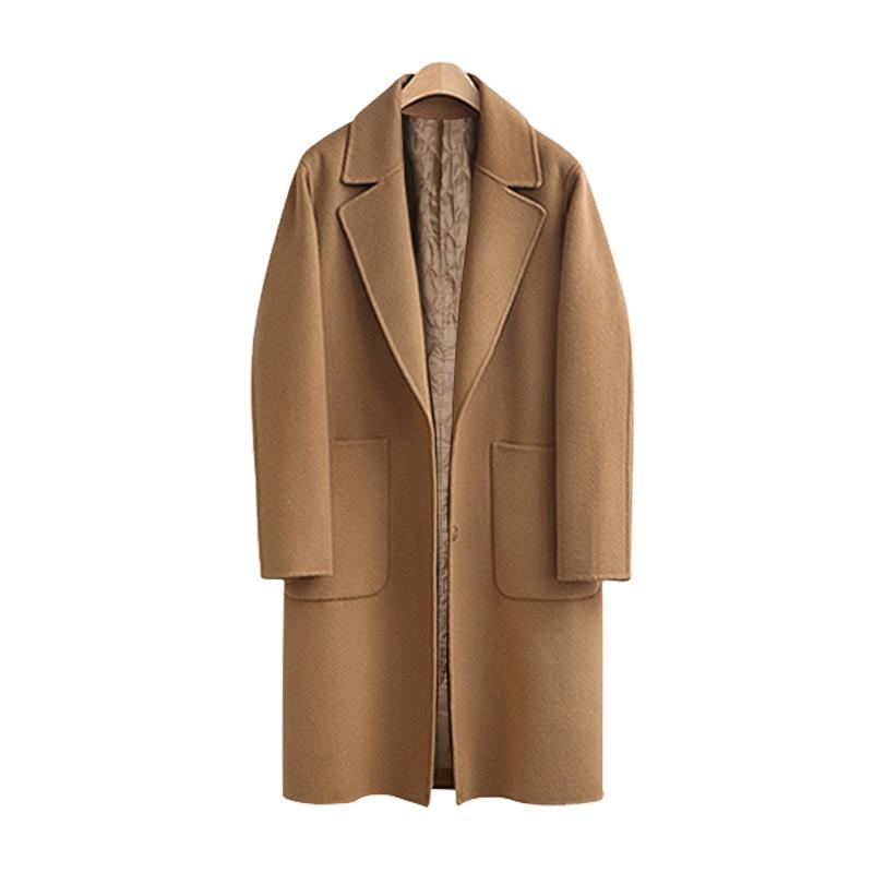 Più Le Signore Per Donne Autumnsolid Lana Formato camel Di Giubbotti Il Delle Cappotto Lungo Black Lz908 Inverno 2018 Vestiti E Allentato Abbigliamento IPX7Oqn