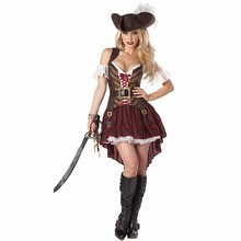 2016 New Caribbean Pirate Warrior Costume font b Women b font Halloween Pirate Costume Dress Female