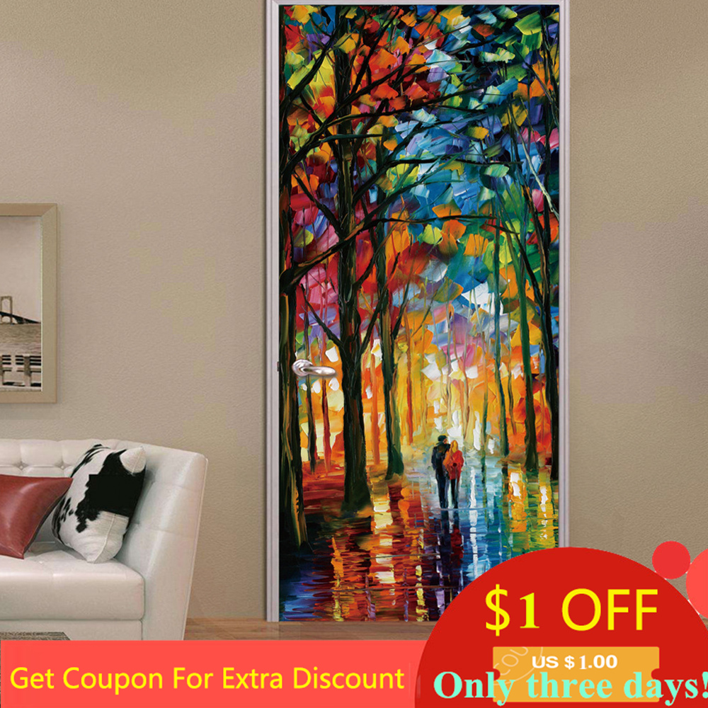 3D Lover In The Colored Woods Oil Painting Romanticism Door Sticker Vinyl Waterproof Poster Wallpaper Mural Decal Sticker Muraux