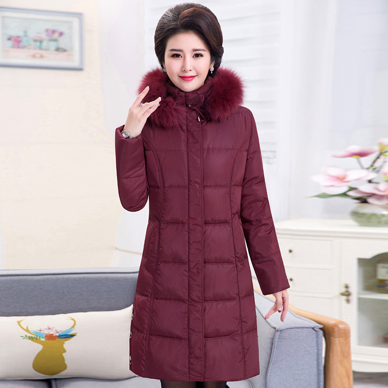 Plus size women middle-aged down jacket lady long style thick big yards above knee mother clothes white duck keep warm down coat