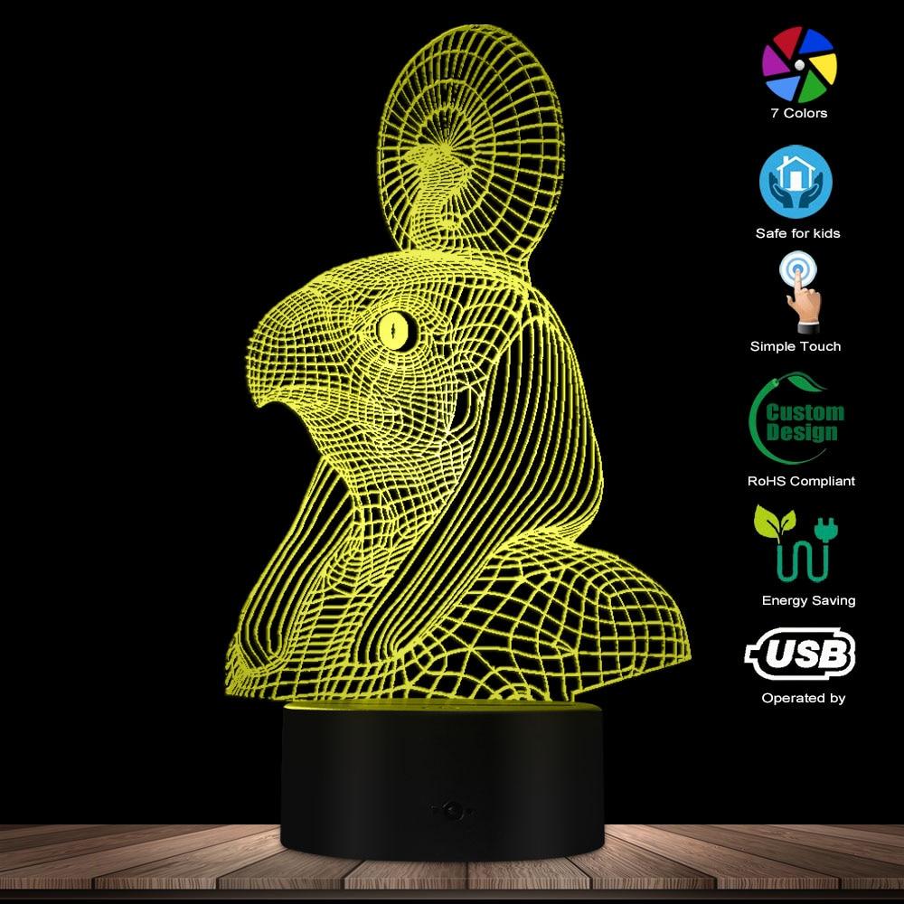 Vintage God Of Sun Egyptian Horus Falcon God Night Lamp Egypt Mythology 3D Optical Illusion Night Light Novelty Table Lamp