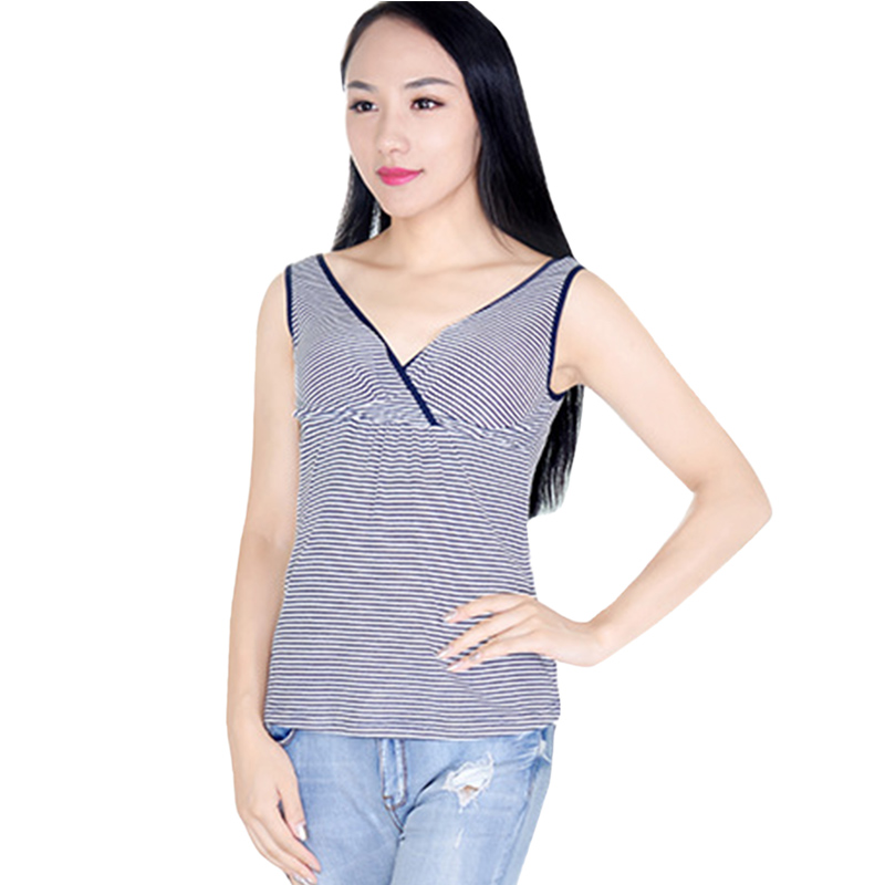 e86ab80aed770 Breastfeeding Tank Tops for Nursing Sleeveless Maternity Camisole Fashion  Stripe Pregnant Women V-neck Vest Maternity Clothes