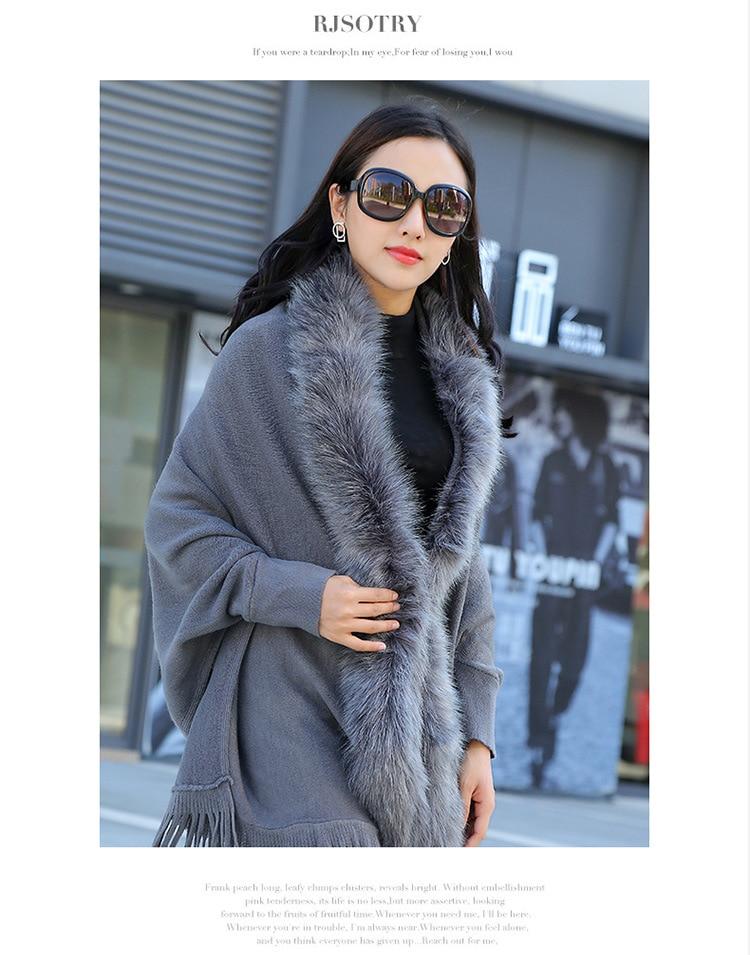 Faux Fur Collar Shawl Cardigan Tassel Winter Warm Coat 40