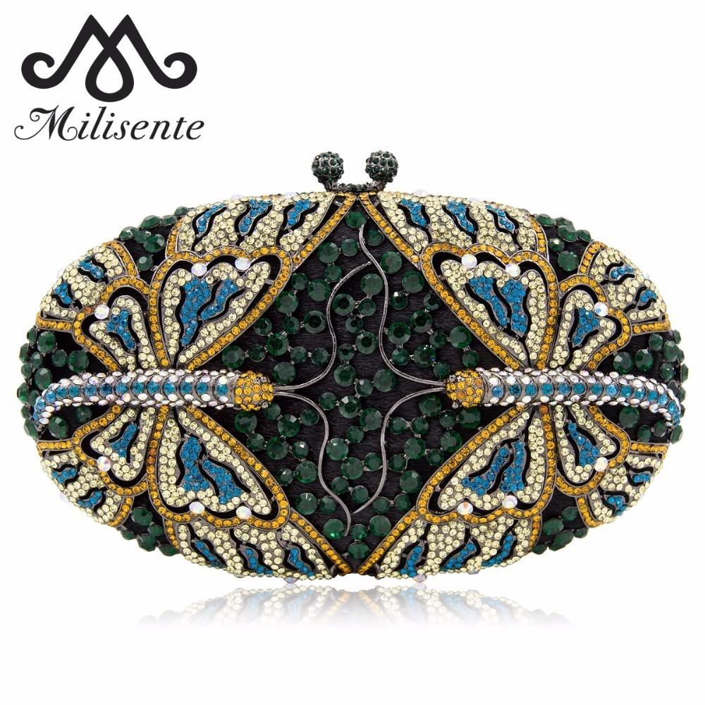 Milisente Women Dragonfly Shape Clutch Luxury Crystal Evening Bags Female Clutches Wedding Purse Party Bag With Long Chain natassie women wedding bag luxury crystal clutch evening bags female clutches ladies party purse with long chain