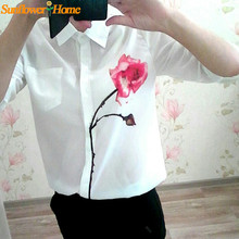Newly Design Women s White Full Sleeve Rose Flower Printed Blouse Turn Down Collar Chiffon Shirts