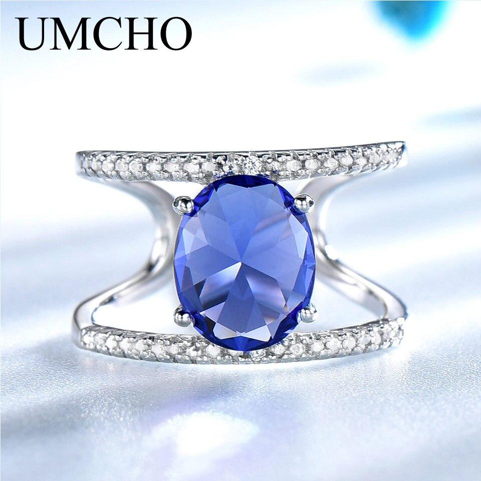 UMCHO Echt 925 Sterling Silber Ringe Für Weibliche Birthstone Tanzanite Edelstein Ring Silber Hochzeit Engagement Band Schmuck Neue