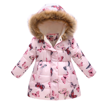 High Quality Children Jacket Outerwear Girl Winter Warm printing Hoodie Baby Coat Parka Toddler Kids 4 5 6 8 Year
