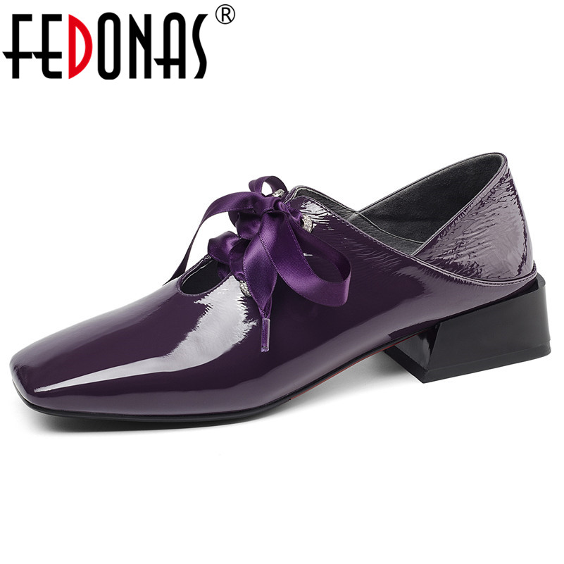 FEDONAS Casual Women 2019 Brand Design Heeled High Quality Genuine Leather Women Pumps New Arrival Fashion