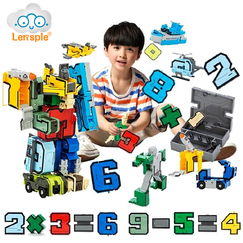 Lensple Educational Toys Magic Number Transformation English Letter Dinosaur Assembly Robot Action Figures Transformer Kid Gifts viruses cell transformation and cancer 5