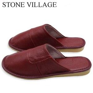 Image 5 - Steen Dorp Plus Size 36 45 Hoge Kwaliteit Echt Leer Thuis Slippers Zomer En Najaar Koele Vrouwen Slippers 6 Kleuren