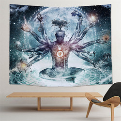Cilected Indian Buddha Statue Tapestry Wall Hanging Wall Cloth 7 Chakra Tapestries Psychedelic Yoga Carpet Home Decoration