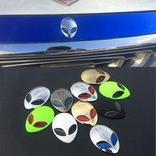 1 pçs de metal completo 3d alienware estrangeiro cabeça logotipo auto adesivo vinil emblema decalques do carro gráfico alta qualidade estilo do carro