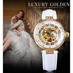 Image 2 - Forsining White Gold Mechanical Automatic Luxury Top Brand Lady Wrist Watch Skeleton Clock Women Leather Dress Age Girl Watches