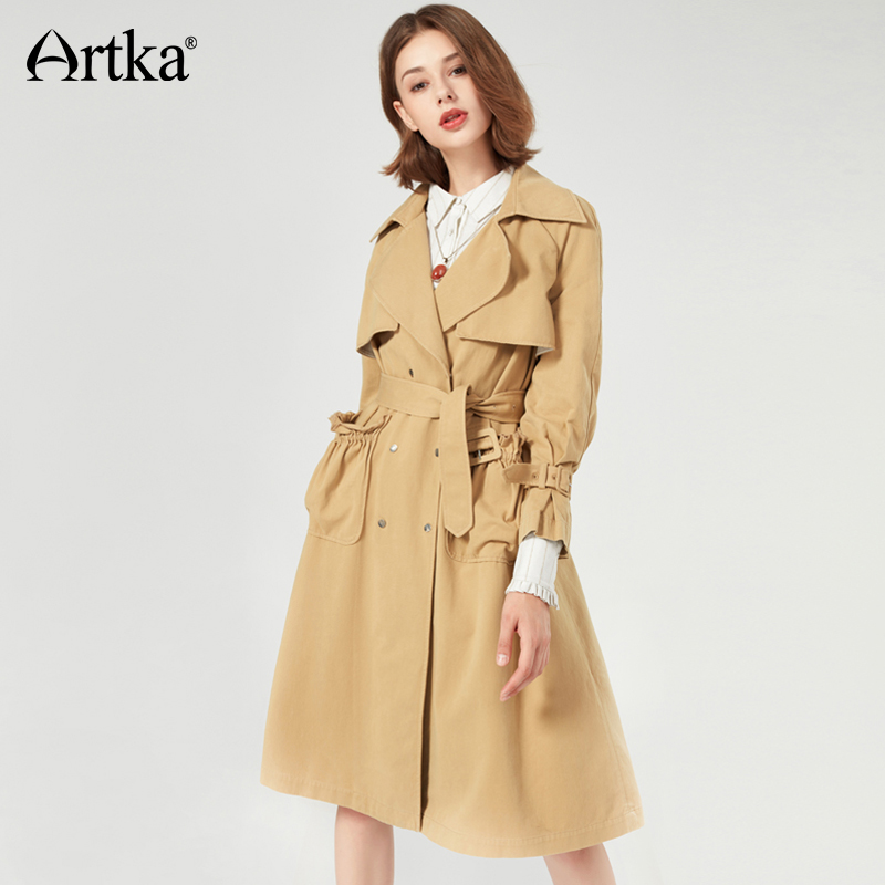 ARTKA Autumn Women's   Trench   Double Breasted Long   Trench   With Belt Vintage Elegant   Trench   Female Cotton Ruffle Overcoat FA10072Q