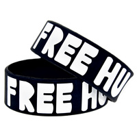 1PC Free Shipping Free Hugs Silicon Bracelet Debossed Filled In Colour Wristband 1 Wide Band Adult