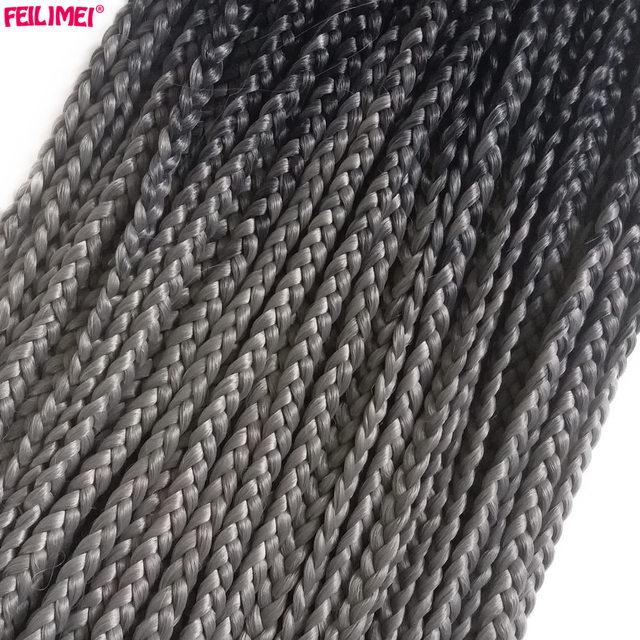 Feilimei Омбре пепельные косички для плетения волос 22 дюйма 100 г из искусственных светлых фиолетовых коричневых синих вязальных косичек для наращивания волос