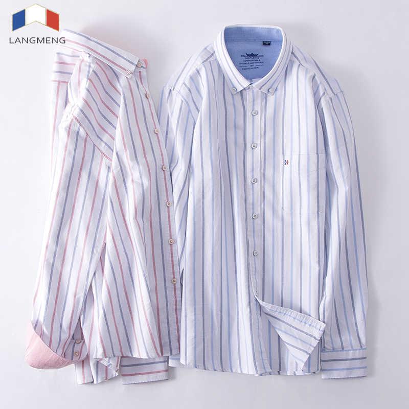 Langmeng オックスフォードシャツメンズドレスシャツ綿 100% オフィスビジネス社会メンズストライプシャツブランド服長袖カミーサ
