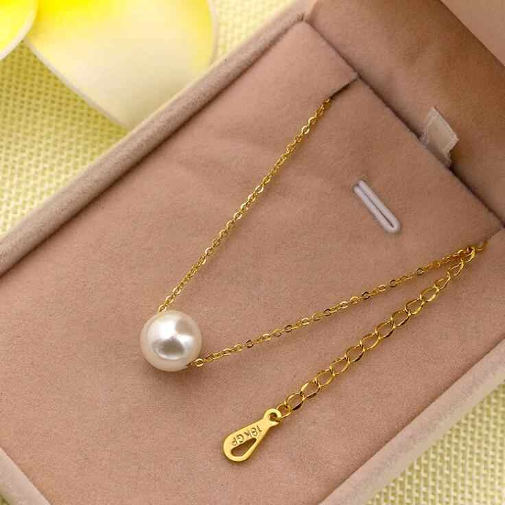 Martick 316L Stainless Steel Gold-color Pearl Pendant Necklace Link Chain Rose Gold Color Necklace For Women Fashion Jewelry P55
