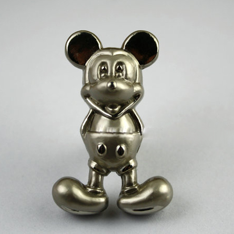 10pcs Silver Mickey Mouse Knobs Wardrobe Dresser Pulls and Modern Furniture Kitchen Cabinet Baby