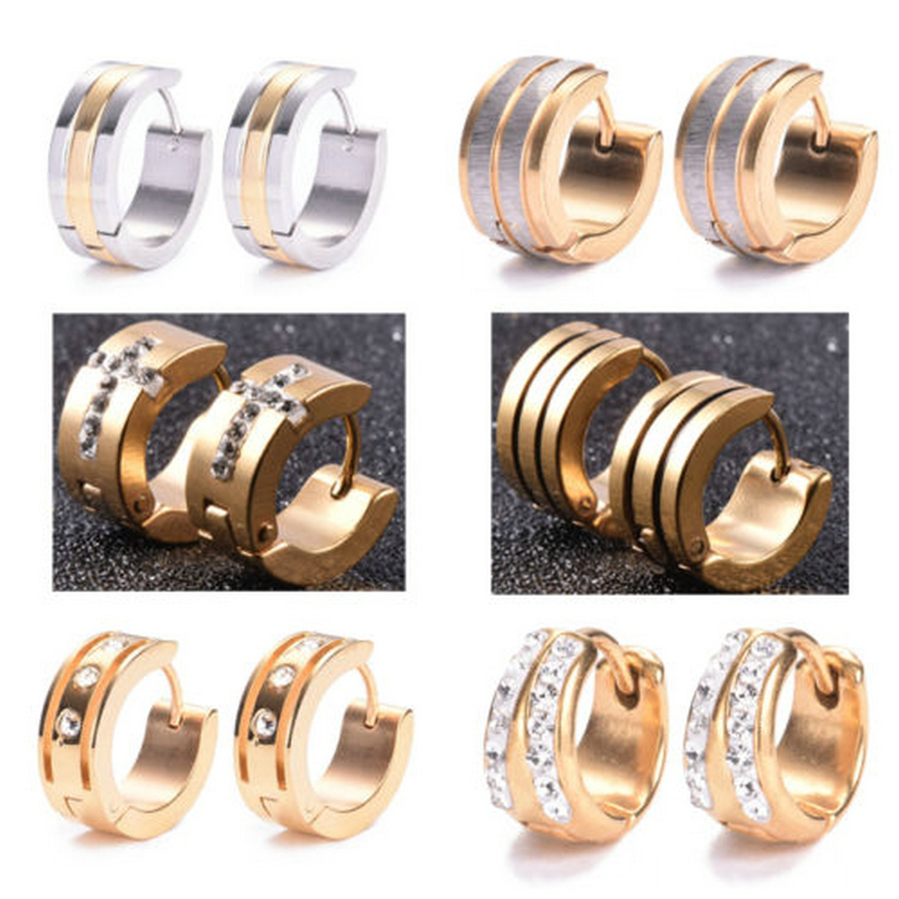 1 Pair High Quality Women Men Stainless Steel Crystal Rhinestone Stud Earrings Lover Party Gold Earring Jewelry