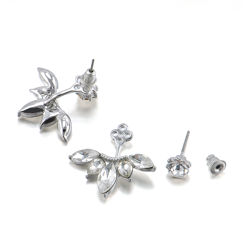 Korean Gold And Silver Plated Leave Crystal Stud Earrings Fashion Statement Jewelry For Women Free Shipping In From