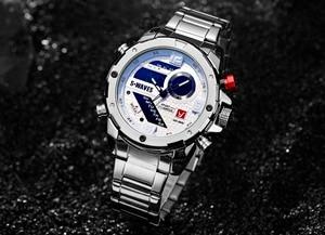 Image 3 - SWAVES ブランドデュアルディスプレイは、男性ワッハ石英スポーツ防水デジタル時計大時計ステンレス鋼レロジオ Masculino