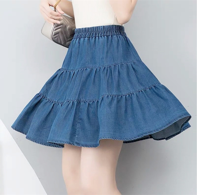 Women Summer Ruffle High Waist Jeans Skirt Big Size 6XL 7XL Brand Cotton Denim Skirt Fashion Korean Sexy Mini Skirt Plus Size