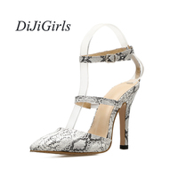 DiJiGirls Summer Fashion Women's High Heels Snakeskin pattern Buckle Strap Pointed Toe ladies Concise Shoes woman US5 8.5