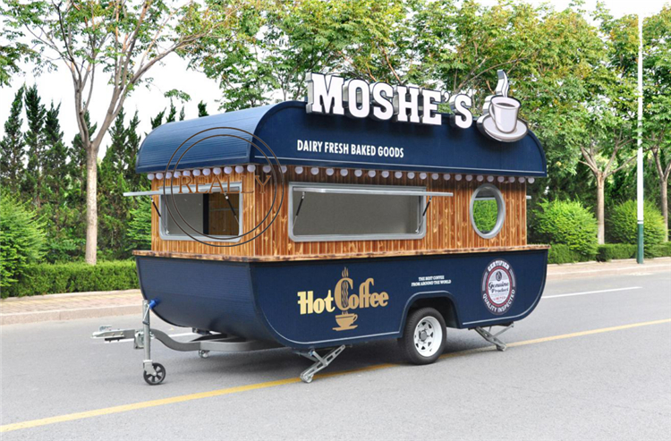 New Design Customized Ship Type Coffee Trailer Mobile Street Shop Snack Vending Food Cart
