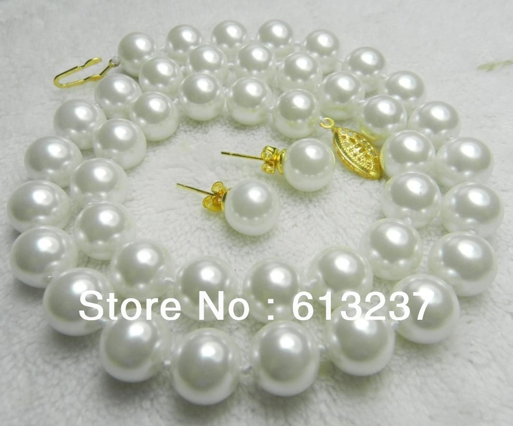 Wholesale price 8mm white shell simulated-pearl round beads necklace earrings jewelry set charming making 18inch YE0027