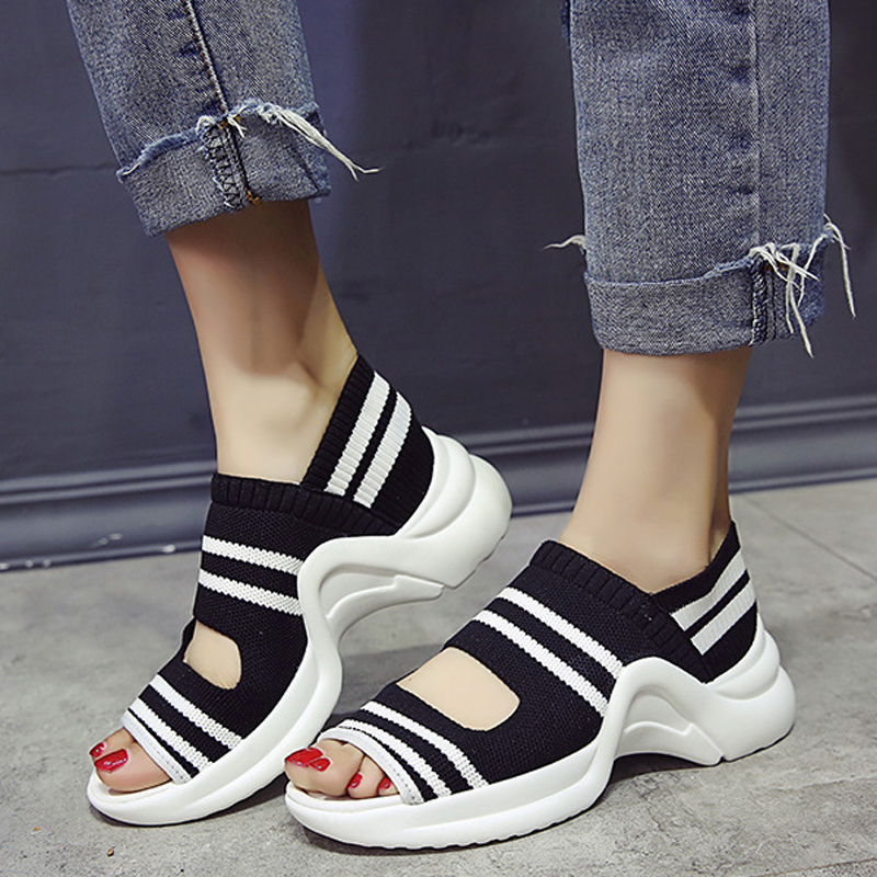 Sandals Wedges Shoes Comfortable Lady Platform Knitting