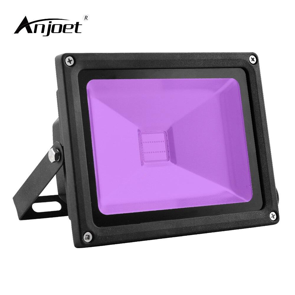 ANJOET 20W UV LED Flood Light 85-265V Ultra Violet FloodLights 395nm Fluorescence effect ip66 for Black-Light Parties