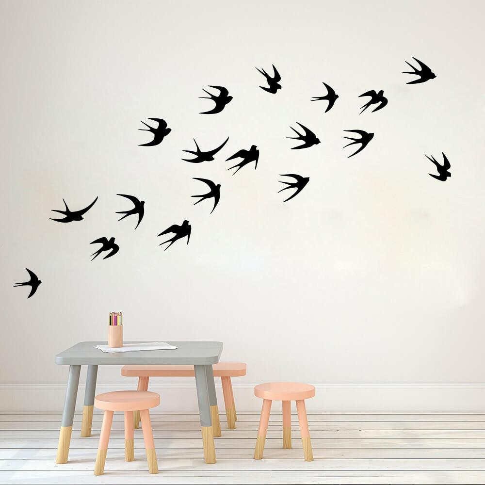 Creative Bird Vinyl Wall Sticker For Home Wall Decor Murals Stickers On Windows Room Decorative Animals Wallpaper LW37
