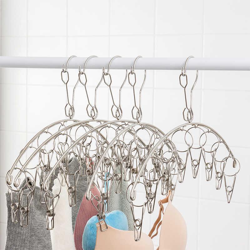 ORZ 8 Clips colgador de ropa Acero inoxidable rejilla de secado lavandería sujetador ropa interior colgador secador calcetines colgantes Clips ropa aireador