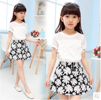 Kids girls short-sleeved suit  new summer children's cotton casual T-shirt big virgin two pieces skirt girl clothes 3-15 years 0