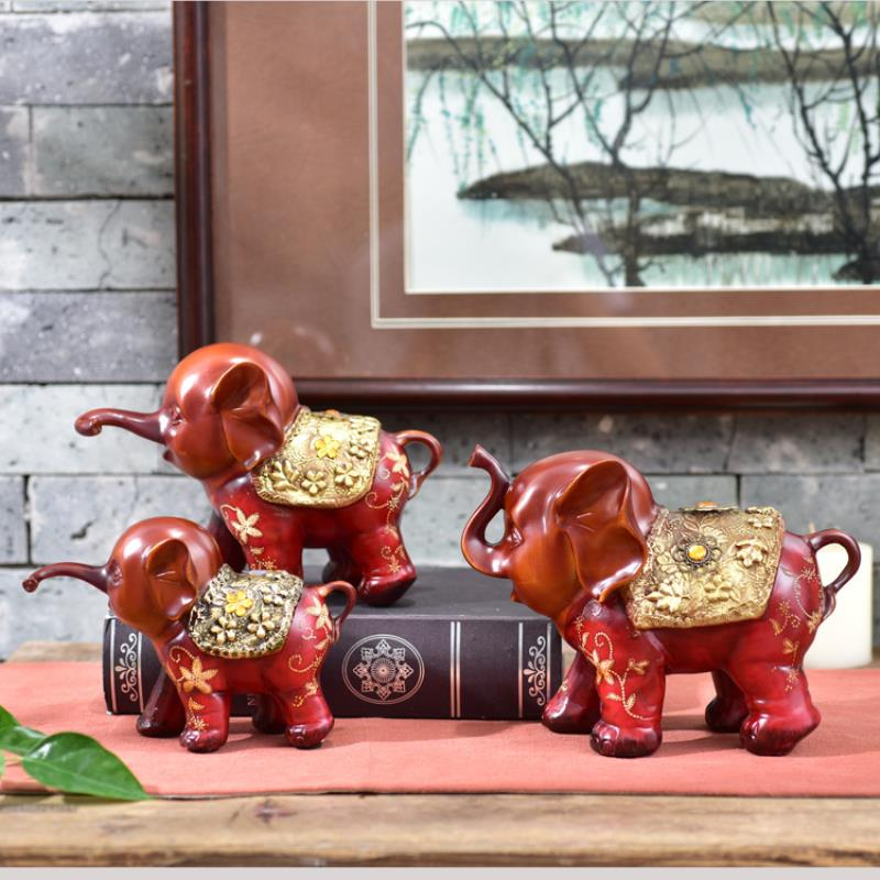 3pcs resin creative cute gift three small elephant office study room decoration a pro-auspicious three treasures