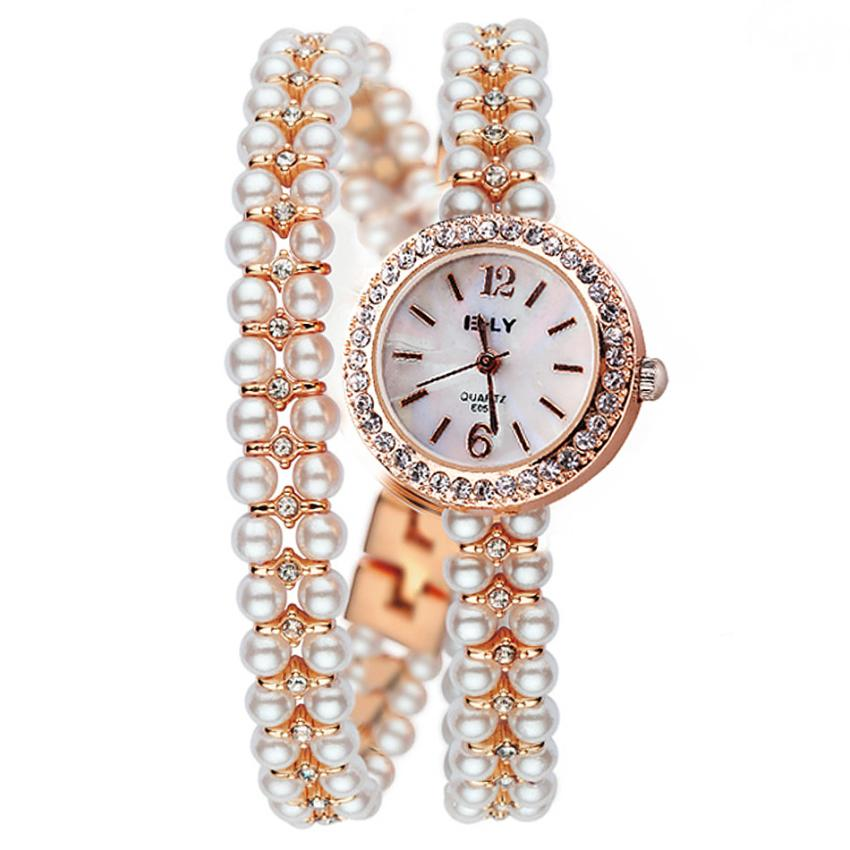 Brand Luxury Quartz Watch Women Gold Pearl Steel Bracelet Wristwatch Set Crystal Bezel Casual Woemns Clock Creative Aug21 women wristwatch women crystal rhinestone butterfly bracelet quartz watch wristwatch aug 23