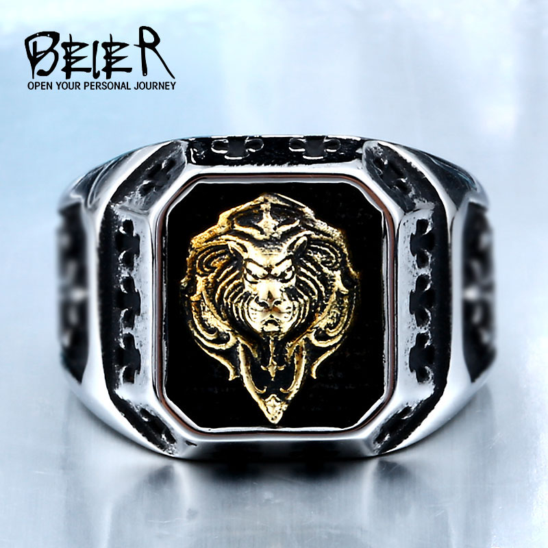 BEIER Cool For Man 316L Stainless Steel Plated-Gold Lion Head Fashion Top Quality Rings Punk Amulet Jewelry Drop ShippingBR8-389