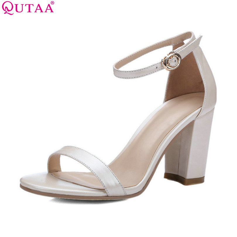 ФОТО QUTAA 2017 Brown Women Sandal Square High Heel Platform Women Shoes Ankle Strap Genuine Leather Ladies Wedding Shoes Size 34-39
