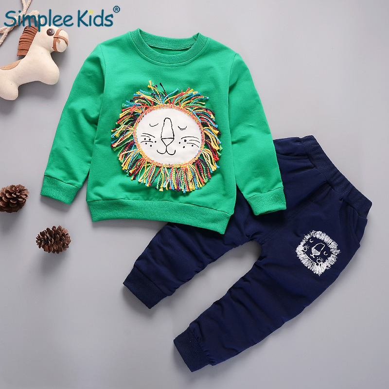 2018 Baby Boys Girls Animals Clothes Long Sleeve T-shirt+Pant Casual Outfit Set