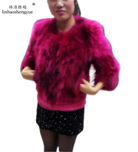 Linhaoshengyue Long 53cm real 2013 raccoon fur wool three quarter sleeve fur women s medium long