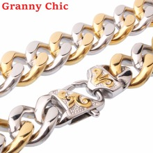 Granny Chic Men's Cool Chain 316L Stainless Steel Necklace or Bracelet for Women Men Silver Gold Curb Cuban Link Hiphop Jewelry