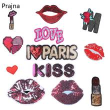 Prajna Sequin Love Letter Stickers Lip Patches Iron On Embroiered Applique Patch Flower Heart Love Label DIY Sewing Fabric D(China)