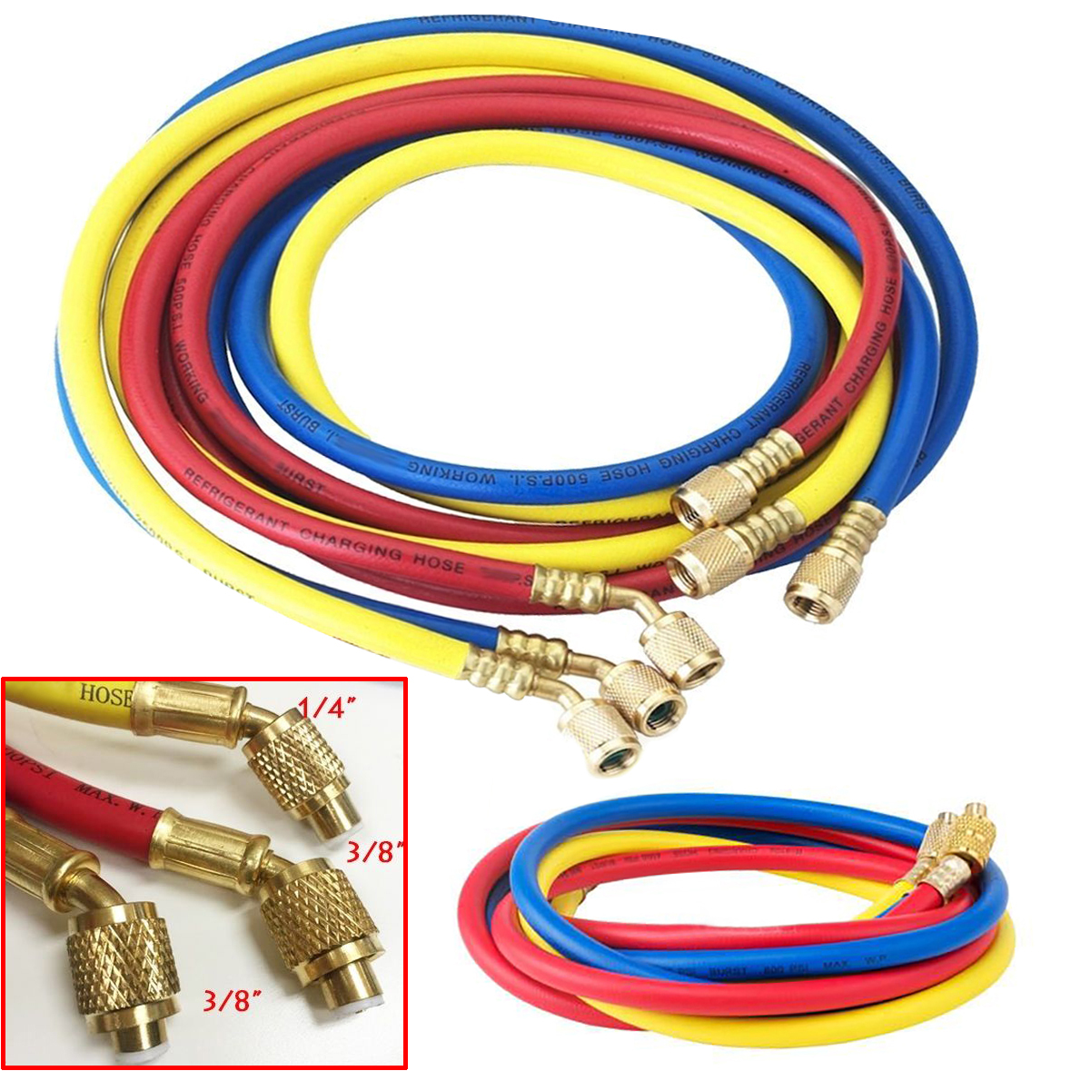 3pcs Durable Charging Hoses Tube 1.5m HVAC 1/4 3/8 SAE 800PSI For Car-styling Air Conditioning Refrigerant R410a R134a Mayitr air conditioning pressure indicator with charging hoses