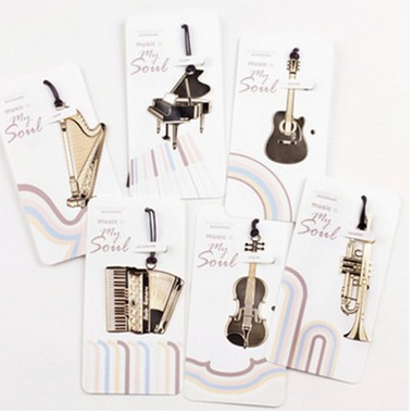 60PCS/LOT 6 Styles New Creative Musical Instrument Designs Metal Bookmark/Gold Book Marks