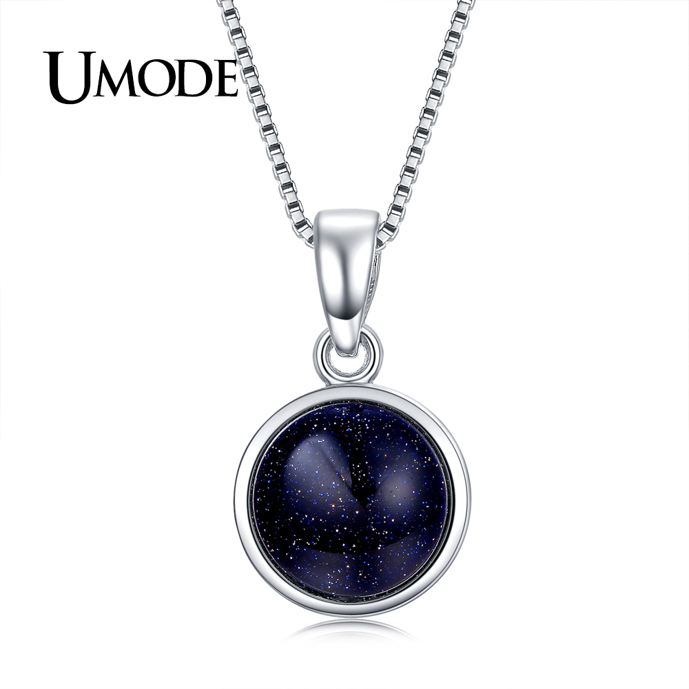 UMODE מותג עיצוב חדש אופנה קסם כחול אש אופל קישור שרשרת תליון מסיבת נשים תכשיטי Collares Bijoux UN0276F