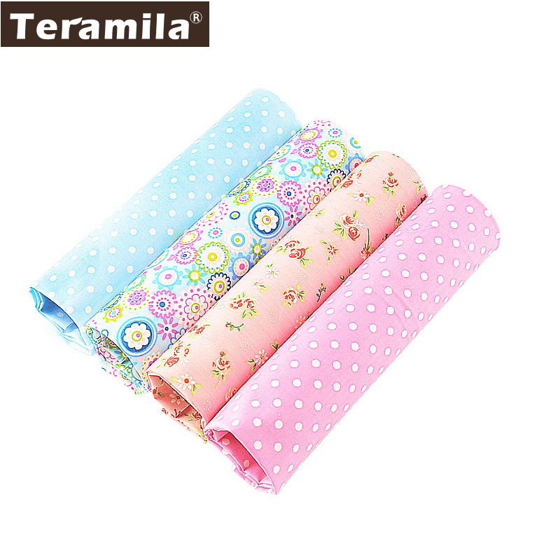 4PCS / lot 40cmx50cm Blomsterpotter Teramila bomullstoff Fat Quarter Bundle Quilting Patchwork Syning Clothe Bedding Tissus Tilda
